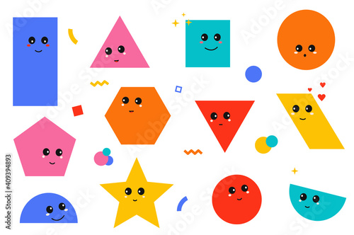Set of geometric shapes with face emotions. Cute comic characters in funny cartoon kids style.