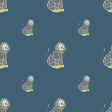 Minimalistic Style Seamless Zoo Pattern With Grey Hand Drawn Lion Print. Dark Navy Blue Background.
