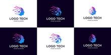 Set Of Abstract Head Tech Logo