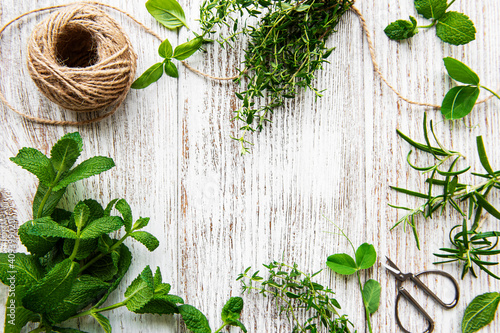 Fototapeta Assortment of fresh aromatic herbs from above on white wooden background. Mint, thyme, basil, rosemary, top view. obraz