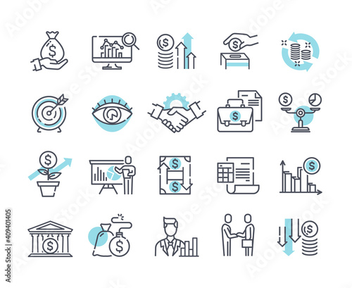 Financial management outline icons, trade service and investment strategy Wallpaper Mural