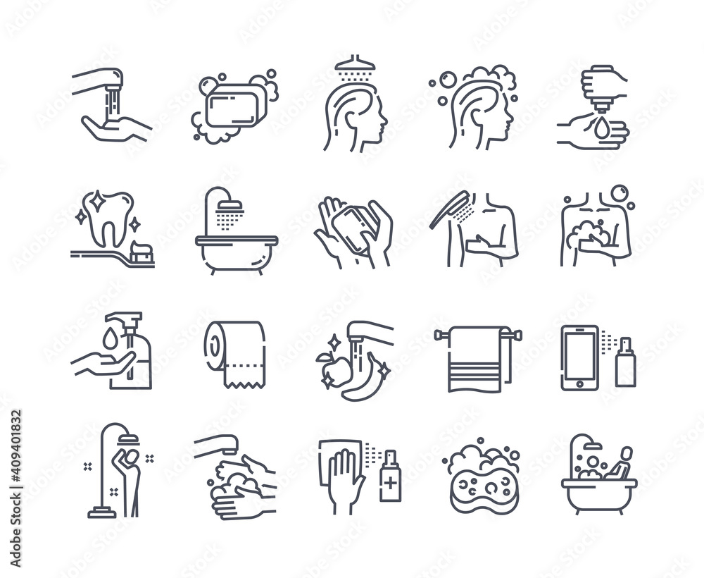 Fototapeta Body wash outline icons. Including icons as hand washing, hair washing, cleaning, brush teeth, soap, taking bath, taking shower and more. Set of flat vector illustrations isolated on white background
