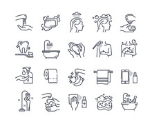 Body Wash Outline Icons. Including Icons As Hand Washing, Hair Washing, Cleaning, Brush Teeth, Soap, Taking Bath, Taking Shower And More. Set Of Flat Vector Illustrations Isolated On White Background