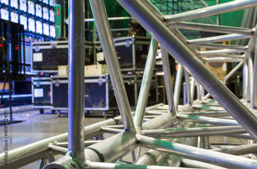 Fotografija Steel aluminum trusses for stage building and installation of professional constructions