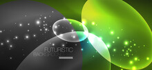 Neon Ellipses Abstract Backgrounds. Shiny Bright Round Shapes Glowing In The Dark. Vector Futuristic Illustrations For Covers, Banners, Flyers And Posters And Other