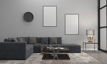 3D Render Of A Modern Living Room With Blank Frames On The Wall For Your Images