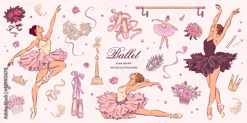 Hand drawn sketch ballet set. Vector illustration Fototapet