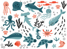 Cute Vector Ocean Set With Sea Creatures For Girls And Boys Summer Baby Shower And Birthday Party Design. Jellyfish, Crab, Turtle, Octopus, Fish, Stingray, Dolphin, Seal