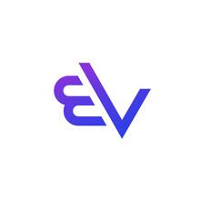 EV Letters Logo, Monogram On White