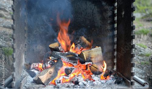 Canvas Print buchettes dans un feu de camp en été