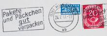 Briefmarke Stamp Gestempelt Used Frankiert Cancel Post Letter Mail Brief Vintage Retro Alt Old Slogan Paket Päckchen Verpackt Red Rot Blau Blue München 1951