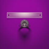 A diamond engagement ring with a blank card to insert your text, all lying on a purple velvet. Romantic love and wedding background. 3D render.