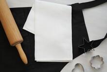 White Waffle Kitchen Towel Mockup, Blank Kitchen Cloth Mock Up, Black Men Apron, Baking Utensils, Flat Lay.