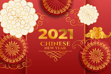 Chinese New Year 2021, Red, Gold And White New Year Theme Background. With Flowers And Paper Fan.