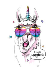 Fun Llama In A Unicorn Mask: Rainbow Glasses And Horn. I Am So Magical - Lettering Quote. Humor Card, T-shirt Composition, Hand Drawn Style Print. Vector Illustration.