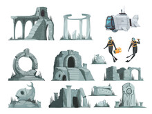 Atlantis Ruins Cartoon Set