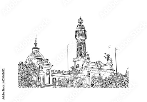Building view with landmark of Valencia is the city in Spain. Hand drawn sketch illustration in vector.