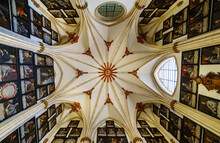 Burgos Cathedral Dome With Many Paintings Of Bishops.