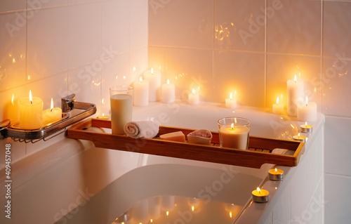 Spiritual aura cleansing ritual bath for full moon ritual with candles, aroma salt and milk Fototapete