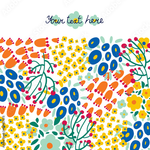 Fényképezés Vector postcard. Spring cute flowers.