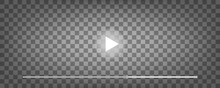 Play Button On Transparent Background. Video Audio Player. Vector Illustration.