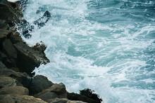 Beautiful Shot Of A Rocky Coast With Splashing Sea Waves In San Antonio, Chile