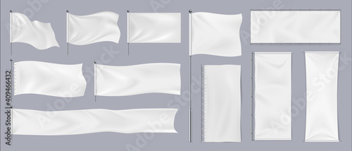 Obraz Realistic textile banners. 3D blank waving cotton flags. Empty fabric signboards for advertising. White canvas hanging on chrome stand. Horizontal or vertical pennants for brand identity, vector set - fototapety do salonu