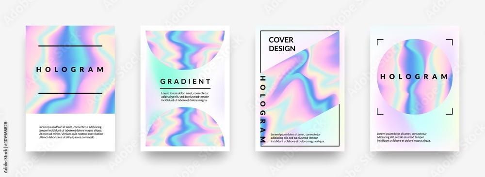 Fototapeta Pearlescent posters. Abstract holographic rainbow metal gradient, violet and pink hologram geometric shapes. Vector iridescent effect 90s mesh horizontal minimalist background set with copy space