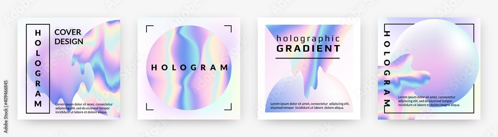 Fototapeta Hologram social banners. Square rainbow foil abstract geometry violet shapes, holographic neon trendy minimal square pearlescent posters with metal gradient futuristic collection. Vector 90s style set
