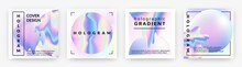 Hologram Social Banners. Square Rainbow Foil Abstract Geometry Violet Shapes, Holographic Neon Trendy Minimal Square Pearlescent Posters With Metal Gradient Futuristic Collection. Vector 90s Style Set