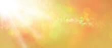 Sfondo Banner Dorato Con La Luce Magica, Stelle Brillanti E Bokeh
