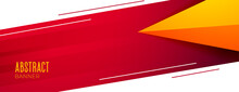 Stylish Red White And Yellow Abstract Banner Design