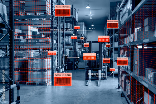 Cuadros en Lienzo Smart warehouse management system using augmented reality technology to identify package picking and delivery