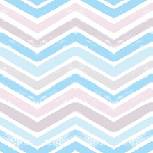 Chevron Seamless Vector Pattern. Watercolor Stripe Baby Background, Abstract Zigzag Blue Print, Graphic Modern Striped Texture, Pastel Lines Backdrop.