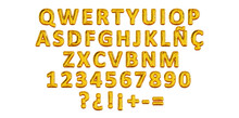 Golden Balloon Letters Of Spanish QWERTY Alphabet, Party Ballon Name Letter Composition