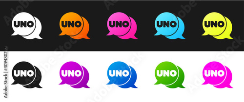 фотография Set Uno card game icon isolated on black and white background