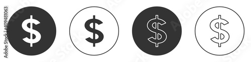 Obraz Black Dollar symbol icon isolated on white background. Cash and money, wealth, payment symbol. Casino gambling. Circle button. Vector. - fototapety do salonu