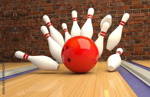 Fotomural bowling strike. Skittles and bowling ball on the track