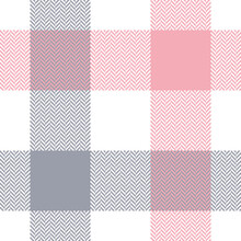 Buffalo Check Plaid In Grey, Pink, White. Seamless Light Pastel Herringbone Textured Vector For Spring And Summer Flannel Shirt, Skirt, Dress, Blanket, Tablecloth, Other Modern Fashion Textile Print.