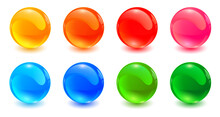 Set Of Colored Spheres, Shiny And Glossy 3D Colorful Glass Balls Collection, Multicolored Vector Illustration.
