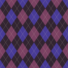 Argyle Pattern In Pink And Purple. Classic Geometric Vector Argyll Dark Background For Gift Wrapping, Socks, Sweater, Jumper, Or Other Modern Autumn Winter Traditional Fashion Textile Print.