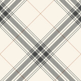 Tartan plaid pattern large in grey and beige. Textured seamless classic light check plaid for blanket, duvet cover, tablecloth, or other modern spring summer autumn winter textile print. - 409497001