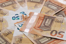 50 Euro Cash Macro Part. European Union Currency. Stack Of 50 Euro Banknotes.