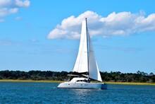 Sailboat Cruising Along The River At St. Augustine, Florida
