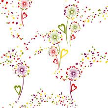 Dandelion Flowers Unique Vector Seamless Pattern.