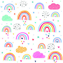 Clouds Rainbows Love Hearts Pattern