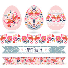 Set With Easter Eggs And Decorative Elements. Floral Seamless Border And Ribbons