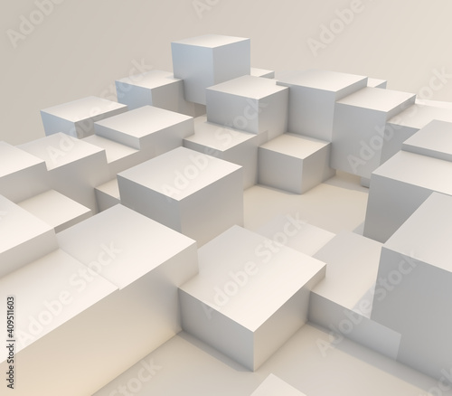 Fototapeta 3D modern abstract background with extruding cubes