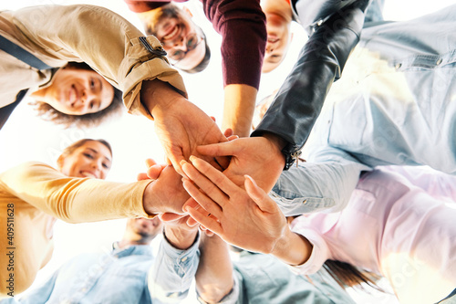 Fotografija hand teamwork friendship team youth group together young friend cooperation man