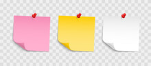 Colored Sheets Of Note Papers With Push Pin. Collection Of Sticky Notes With Curl And Shadow. Realistic Paper Stickers For Your Message. Design Element For Advertising And Promotional.